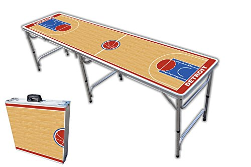 8-Foot Professional Beer Pong Table - Detroit Basketball Court Graphic