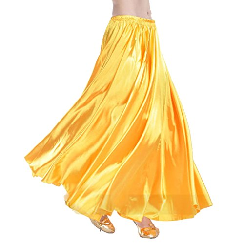 MUNAFIE Belly Dance Satin Skirt Arabic Halloween Shiny Skirt Fancy Full Skirt US0-14 -