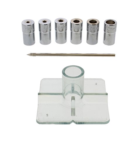 DCT Metric Drill Bit Guide Centering Punch 8-Piece Center Drilling Set Kit – 4mm to 12mm Bushings, Locating Pin, Guide
