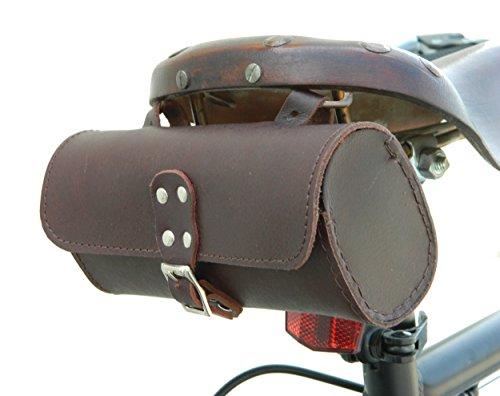 Vintage Raleigh Bike (Herte Genuine Leather Bicycle Saddle Bag Utility Tool Bag Chry Brn)