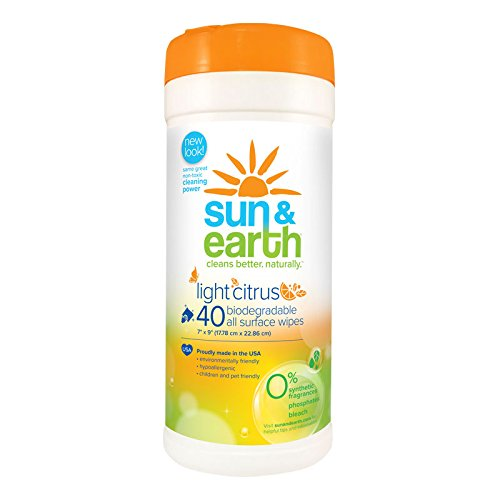 Sun & Earth Natural Biodegradable All Surface Wipes, 40 Count