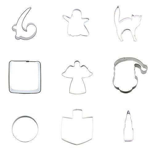 9 Pieces Cookie Cutter Biscuit Lipstick Drill Circle Round 7CM Santa Claus Hat Elf Angel Rectangle Square Cat Kitten Specter Ghost Musical Note -