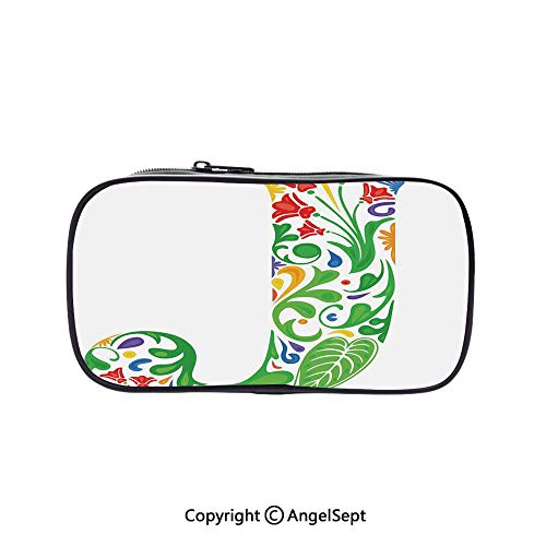 Cute Pencil Case - High Capacity,Initial Capital J with Tropical Nature Elements Leaves and Flowers Abstract Swirls Decorative Multicolor 5.1inches,Multifunction Cosmetic Makeup Bag,Perfect Holder Fo