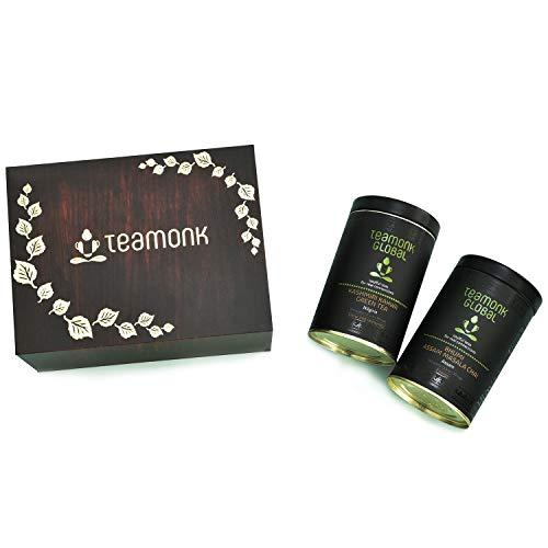 - Luxury Organic Teas in a Presentation Flip Box, Gift Set Collection | Gift for Tea Lovers, Men, Women | Pack of 2: Kashmiri Kahwa Green Tea & Assam Masala Chai- 3.5oz each