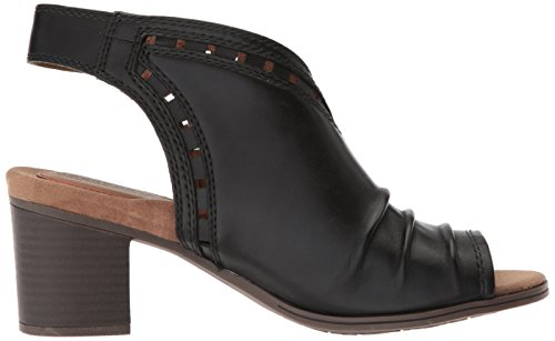Cobb Hill Women's Hattie Envelope Heeled Sandal, Black Black Leather