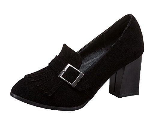 Frange Delle scarpe toe Delle Nere Alti Frosted on Tacchi Donne Round Pompe Amoonyfashion Pull qx4Z0H