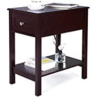 SONGMICS Sofa Side Painted Table with 1 Metal Slider Drawer, Rectangular Nightstand Bedside Corner Table Cabinet with Shelf for Storage Mahogany Color ULET03BR