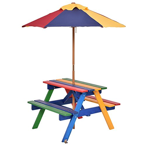 Costzon Kids Picnic Table Set, Colorful Wood Picnic Table and Benches with Removable/Folding Umbrella, Children Rainbow Bench Outdoor Patio Set (Best Kids Picnic Table)
