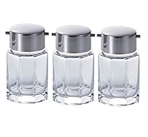 Handmade Seasoning/Soy Sauce glass Container with stainless steel lid, set of 3