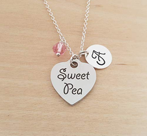Pea Pendant Pearl Sweet (Sweet Pea Charm Necklace - Personalized Sterling Silver Jewelry)