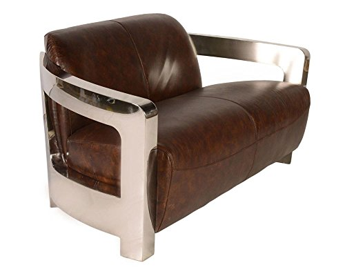 sofa polished stainless steel soft Australian leather handmade