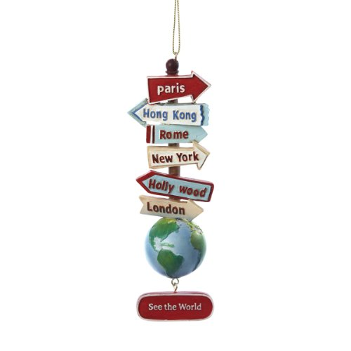 Kurt Adler Resin Stacked World Signs With Globe Ornament (Suitcase Ornament)