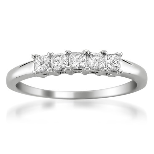 14k White Gold Princess-cut Diamond Bridal Wedding Band Ring (1/2 cttw, H-I, I2-I3) (Diamond Princess Cut Mens Ring)