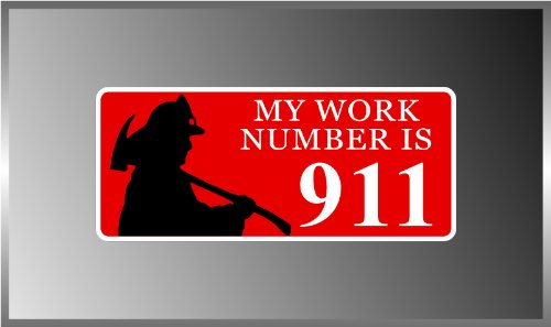 My Work Number Is 911 Firefighter Iaff Vinyl Decal Bumper Sticker 3  X 7   Iaff