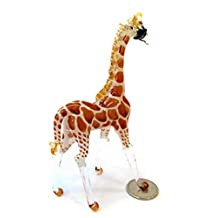 Lampwork COLLECTIBLE MINIATURE HAND BLOWN Art GLASS Giraffe (Light Brown), Size S FIGURINE