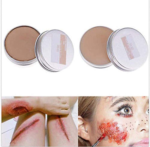 Halloween Makeup Wax Face Body Scar Nose Modeling Putty Wax Special Effect (Dark Skin)]()