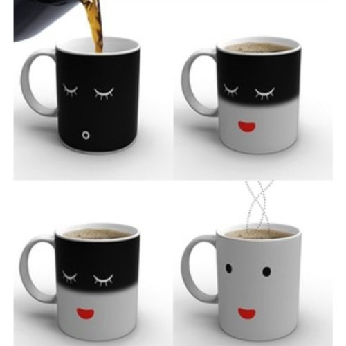 Sonline Taza de Cafe Leche Sensible a Calor Cambio de Color Diseno de Cara So...