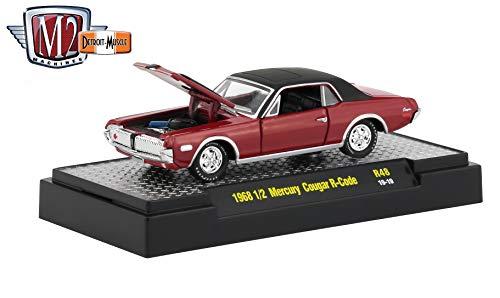 (M2 Machines 1968 ½ Mercury Cougar R-Code (Cardinal Red) - Detroit Muscle Release 48 Castline 2019 Premium Edition 1:64 Scale Die-Cast Vehicle & Custom Display Base (R48 19-19))