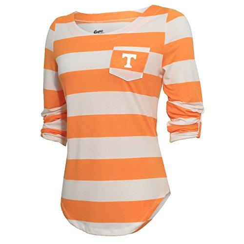 Tennessee Striped Shirt - NCAA Tennessee Volunteers Women's Campus Specialties Striped 3/4 Sleeve Tee, UT Orange/White, Large