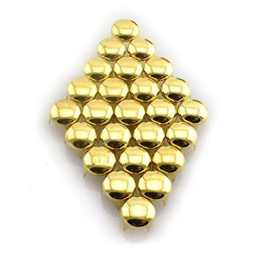 Dome Studs Bag - RuiLing 120pcs Gold DIY Nailhead Round Dome Studs Assorted Kit Leathercraft Rivet Metal Punk Spikes Spots for Punk Rock Leather Craft Clothes Belt Bag Shoes Jewelry Decorations 6/8/10/12mm