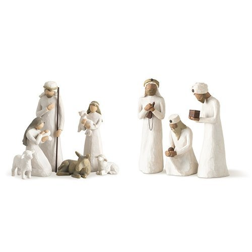 Willow Tree Nativity, 6-piece set of figures by Susan Lordi 26005 & Demdaco Willow Tree 8.5-inches The Three Wisemen for the Nativity, Resin metal by