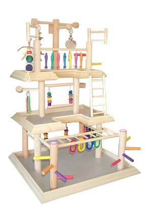 BirdsComfort Parrot Play Gym Large for Small Parrots, Bird Activity Center, Wood Tabletop Play Station for Parrots, Base: 24'' x 22'', Overall Height: 38'' - 3 Levels by Bird Gyms