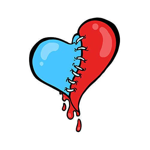 Stitch Heart Bleeding Red and Blue - Vinyl Sticker