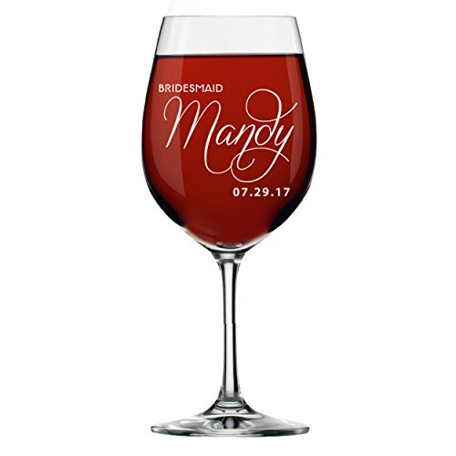 (Personalized Bridesmaids Wedding Party Wine Glasses Gifts - Custom Etched and Engraved for Free)