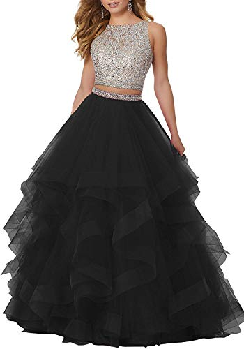Sexy Two Piece Crystal Beaded Prom Dresses Long Tulle Formal Prom Ball Gowns B Black US2