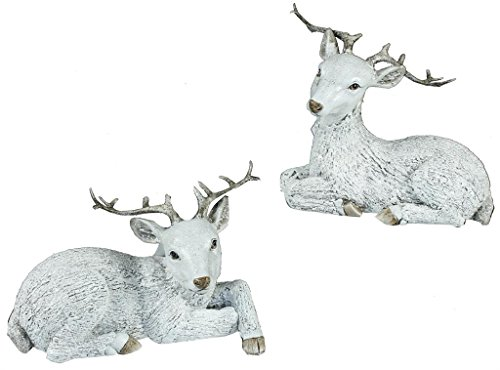 Laying White Textured Deer with Antlers Resin Christmas Figurine Set of 2