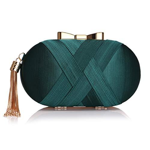 MY Women Clutches Silk Satin Evening Bags Tassel Pendant Handbags Party Wedding Clutch Purse,Dark Green1
