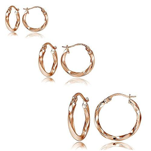 Hoops & Loops Set of 3 Rose Gold Tone over Sterling Silver 2mm Twist Hoop Earrings, 15mm, 20mm, 25mm