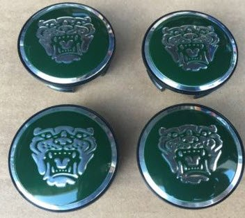 JAGUAR DARK GREEN WHEEL EMBLEM BADGE SET OF 4, C2C30080 FITS ALL X-TYPE S-TYPE AND 2004-2008 XJ8 by Jaguar