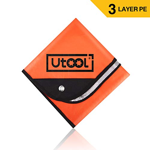 (UTOOL Heavy Duty Emergency Blanket Tarp, Extra Large Thermal Reflective Survival Outdoor Emergency Blanket with Water Proof, 93% Heat Retention, Tear Resistant, Reusable Features, Orange )