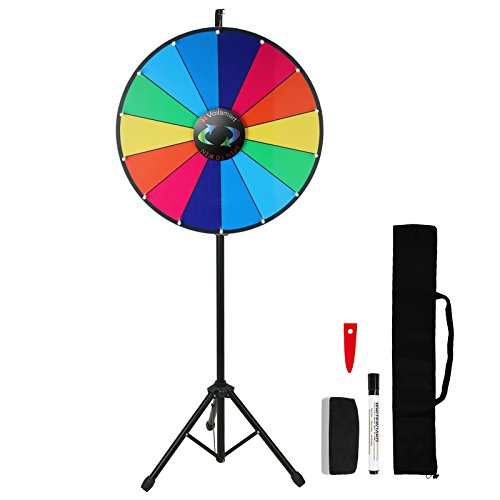 Voilamart 24 Inch Prize Wheel with Folding Tripod Floor Stand Height Adjustable 14 Slots Color Dry Erase Spin Wheel Spinner Game with Dry Erase & Marker Pen for Trade Show Fortune Spinning Game