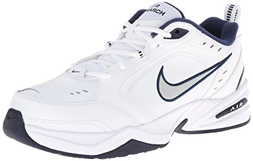 Nike Men's NIKE AIR MONARCH IV (4E) RUNNING SHOES -8.5;   White / Metallic Silver-Midnight Navy (Nike Air Mens Running Shoes)