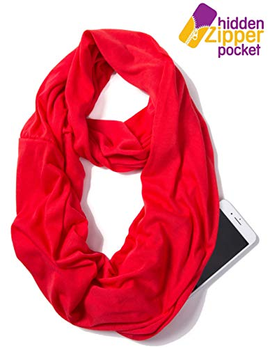 (Elzama Infinity Solid Color Scarf with Hidden Zipper Pocket for Women Lightweight Travel Wrap)