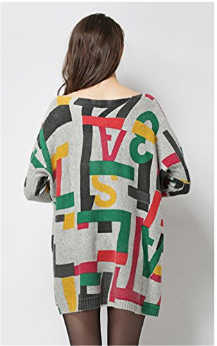 """Clivia Mujer Delgado Cuello Redondo Media Hülse übergangs Sweater Jersey para estaciones -- """"Music patrón & # xff08; Average Size & # xff09; qt-12 Hellgrau"""
