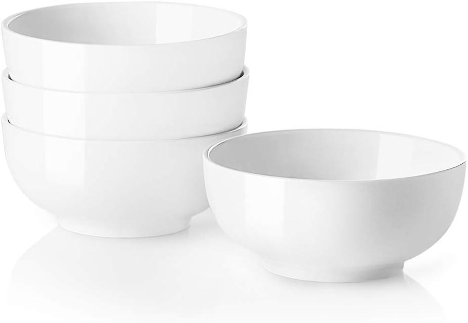 SWEEJAR Porcelain Bowls Stackable for Kitchen, 24 Oz for Ramen Salad Soup fruit, Round Serving Bowls for Family Daily Use, Set of 4 (White)
