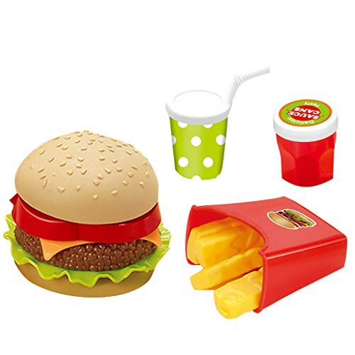 Burgers Platter - Firespit Fast Food Deluxe Dinner Plastic Diner Food for Creative Pretend Play Classic Meal Toy Home Cooking Utensils Early Childhood Children Simulation Breakfast Food Burger Platter Cutlery Set