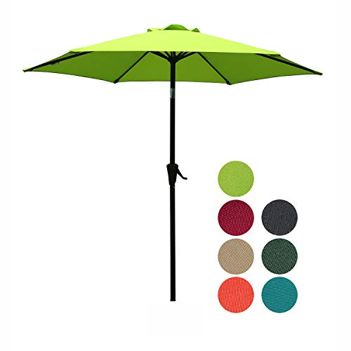 PATIOROMA 7.5 Feet Outdoor Patio Umbrella with Push-Button Tilt and Crank, 6 Ribs, Polyester Canopy, Lime Green