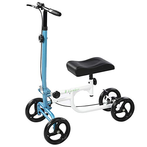 ELENKER Economy Knee Walker Steerable Medical Scooter Crutch Alternative White and Blue
