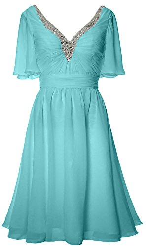 MACloth Women Short Sleeves Mother of Bride Dress V Neck Evening Formal Gown (US12, Turquoise)