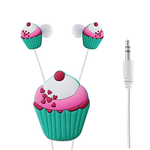 (Kids Earbuds,Moear Lovely 3.5mm Cartoon Cup Cake 3D Stereo Earphones Noise Isolating Headset Compatible with iPhone 8/8 Plus/7/7 Plus/XS/XS Max/XR/X Kids Wired Earbuds with Bobbin Winder)