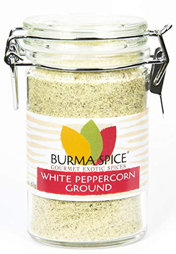 Ground White Peppercorn from the berry of the pepper plant, Piper Nigrum Kosher (2.2oz.)
