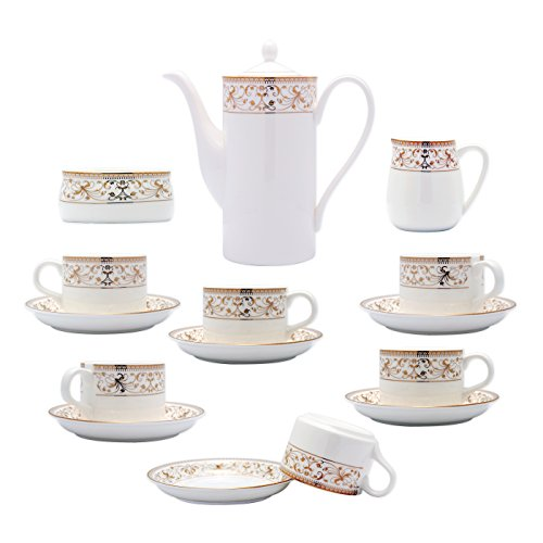 White Gold Creamer (TransSino Treasures Fine Bone China 15 Piece Coffee Set Rimmed with Decorative Gold Leaf)