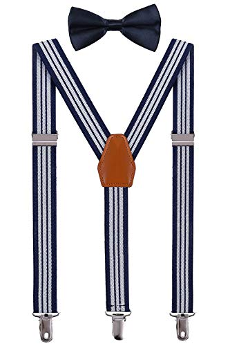 (BODY STRENTH Toddlers Suspenders and Bow Tie Set Adjustable Elastic Navy Stripe 26 Inches )