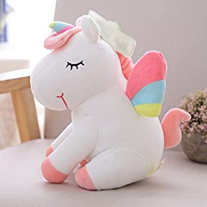 Cute Cartoon rainbow big wings & colourful horn Stuffed rainbow unicorn plush gifts for Children