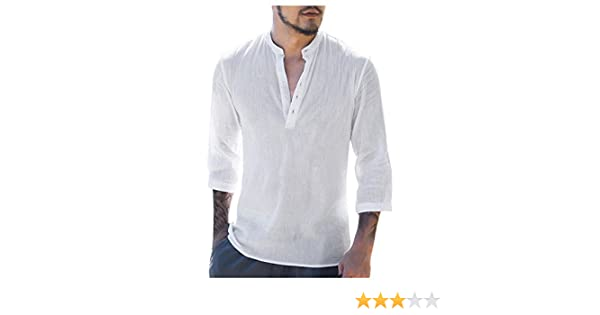 Hombres Renacimiento Medieval Lino T Camisa Hippie Pirata Cosplay Camisa (Blanco, M): Amazon.es: Ropa y accesorios