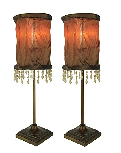 Vintage Style Accent Lamp with Brown Beaded Fringe Fabric Shade Set of 2 ()